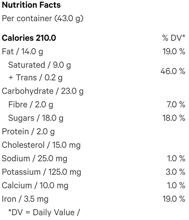 Nutrition Information for Chocolate Caramel Half Spheres (Chocolates) by Aurora Drift
