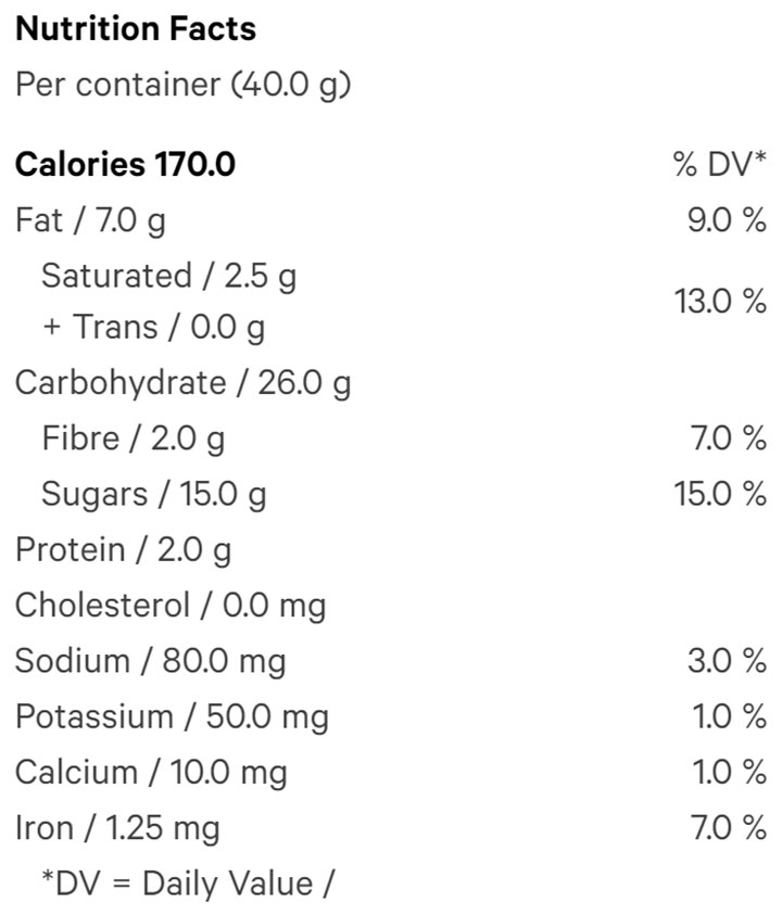 Nutrition Information for Soft Baked Chocolate Cookies (2pc) (Baked Goods) by Aurora Drift