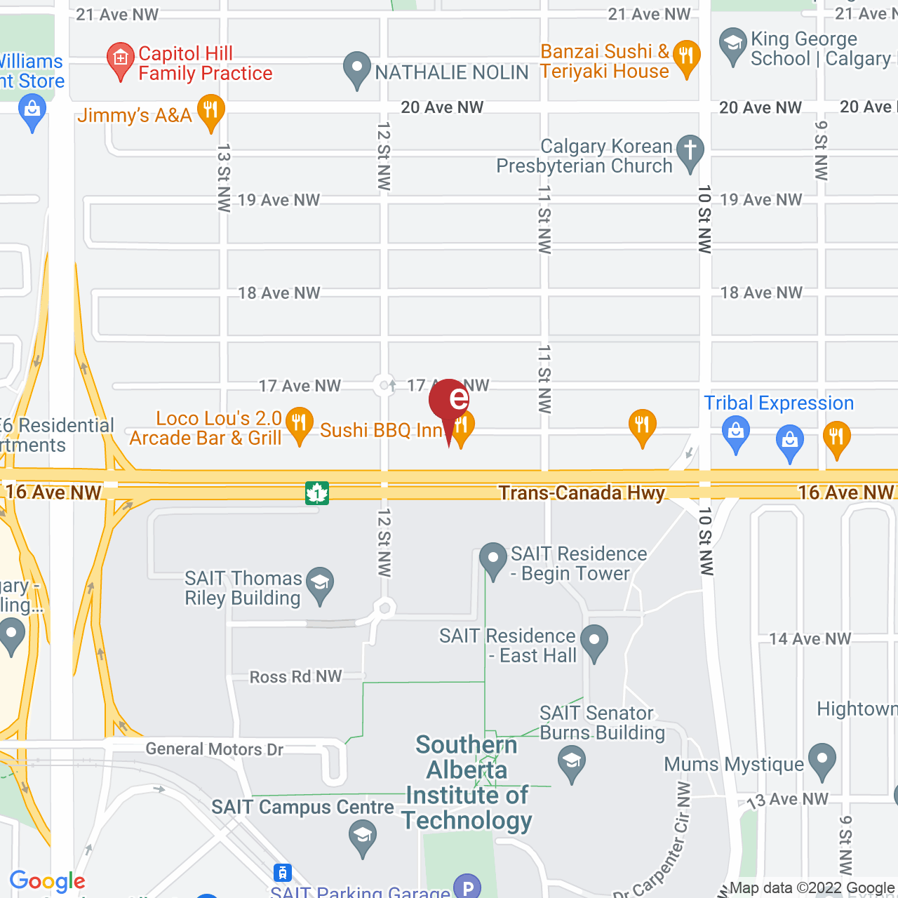 Street map for Bongs and Such Plus, 1228 16 Ave. NW, Calgary AB