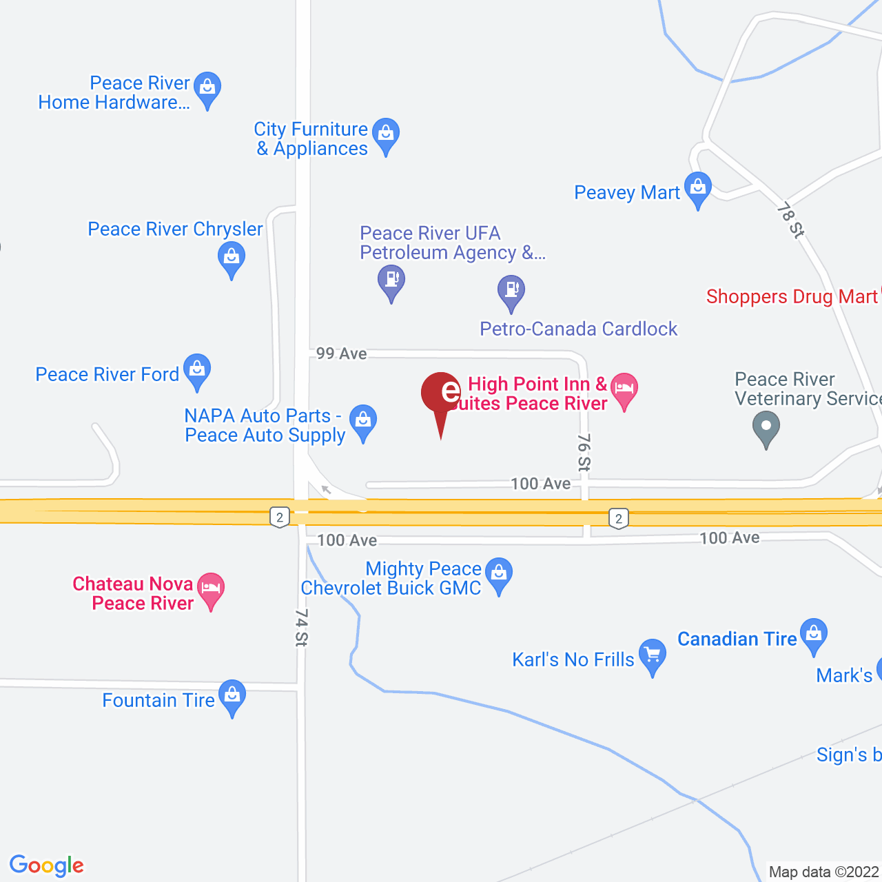 Street map for Bud Runners Cannabis, 7426 100 Ave., Peace River AB