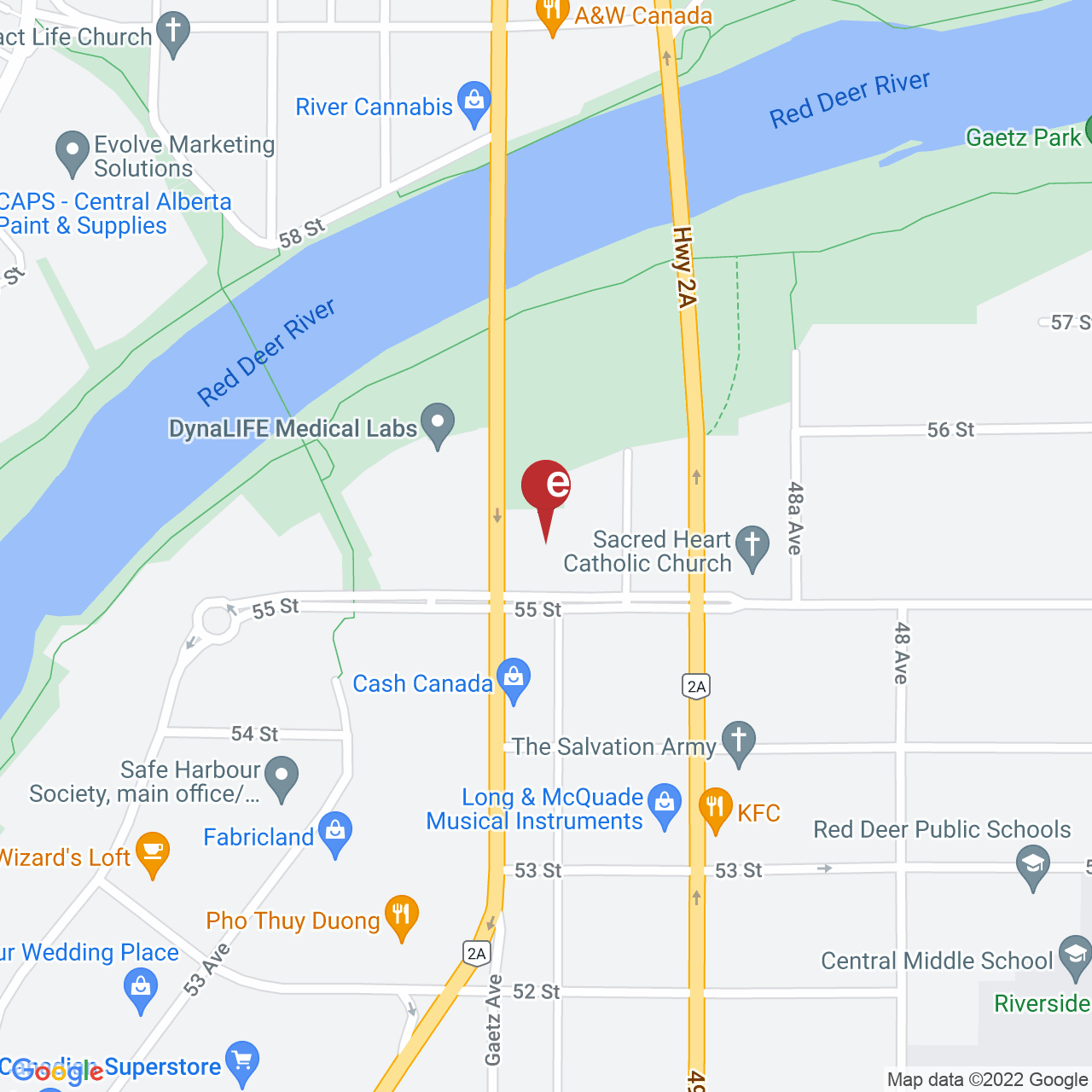 Street map for Choom Cannabis Co. Red Deer, 1-5511 50 Ave., Red Deer AB