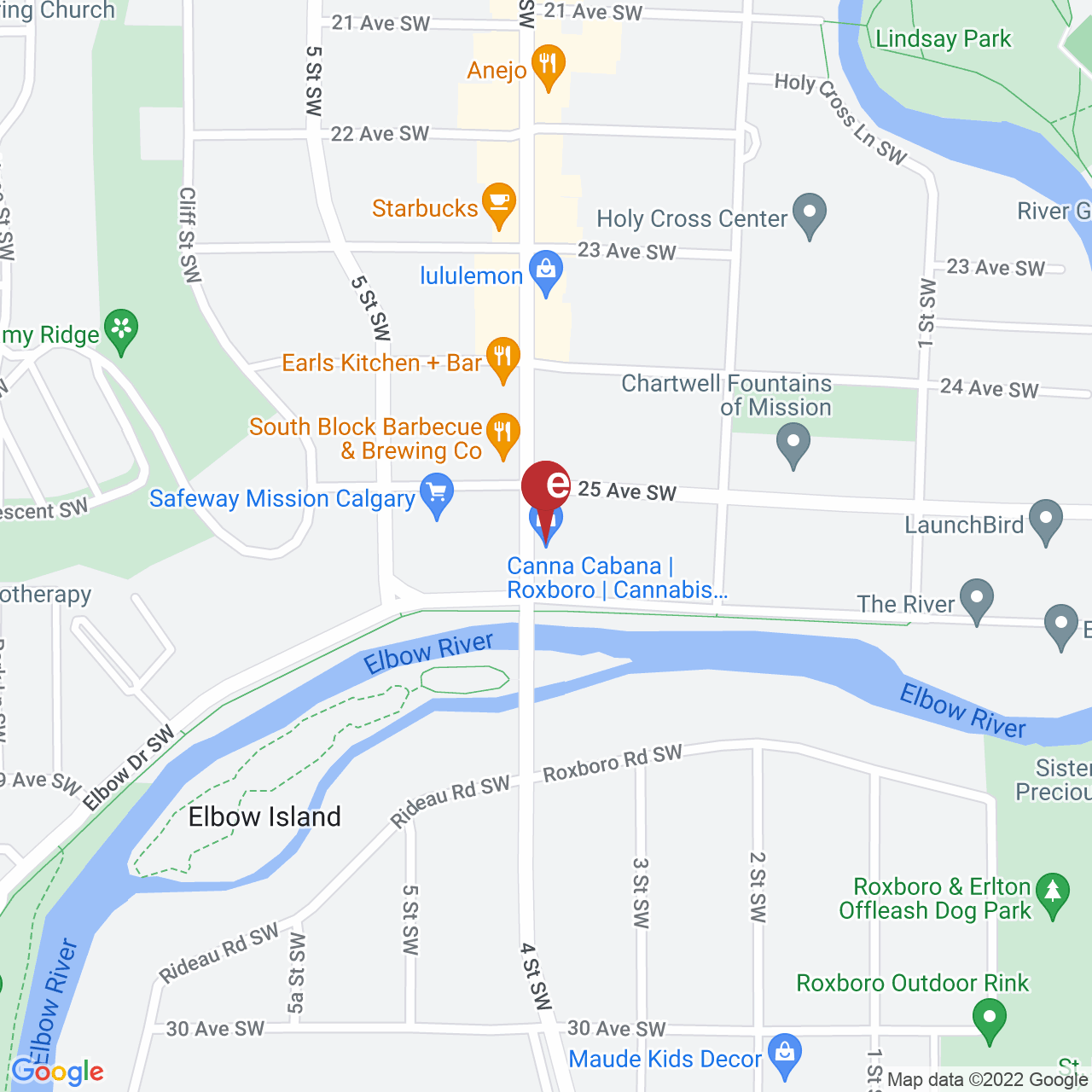 Street map for Newleaf Cannabis Roxboro, 21-2500 4 St. SW, Calgary AB