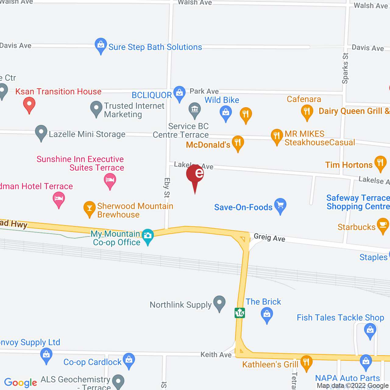 Street map for BC Cannabis Store Skeena Mall, 103 - 4761 Lakelse Ave, Terrace BC