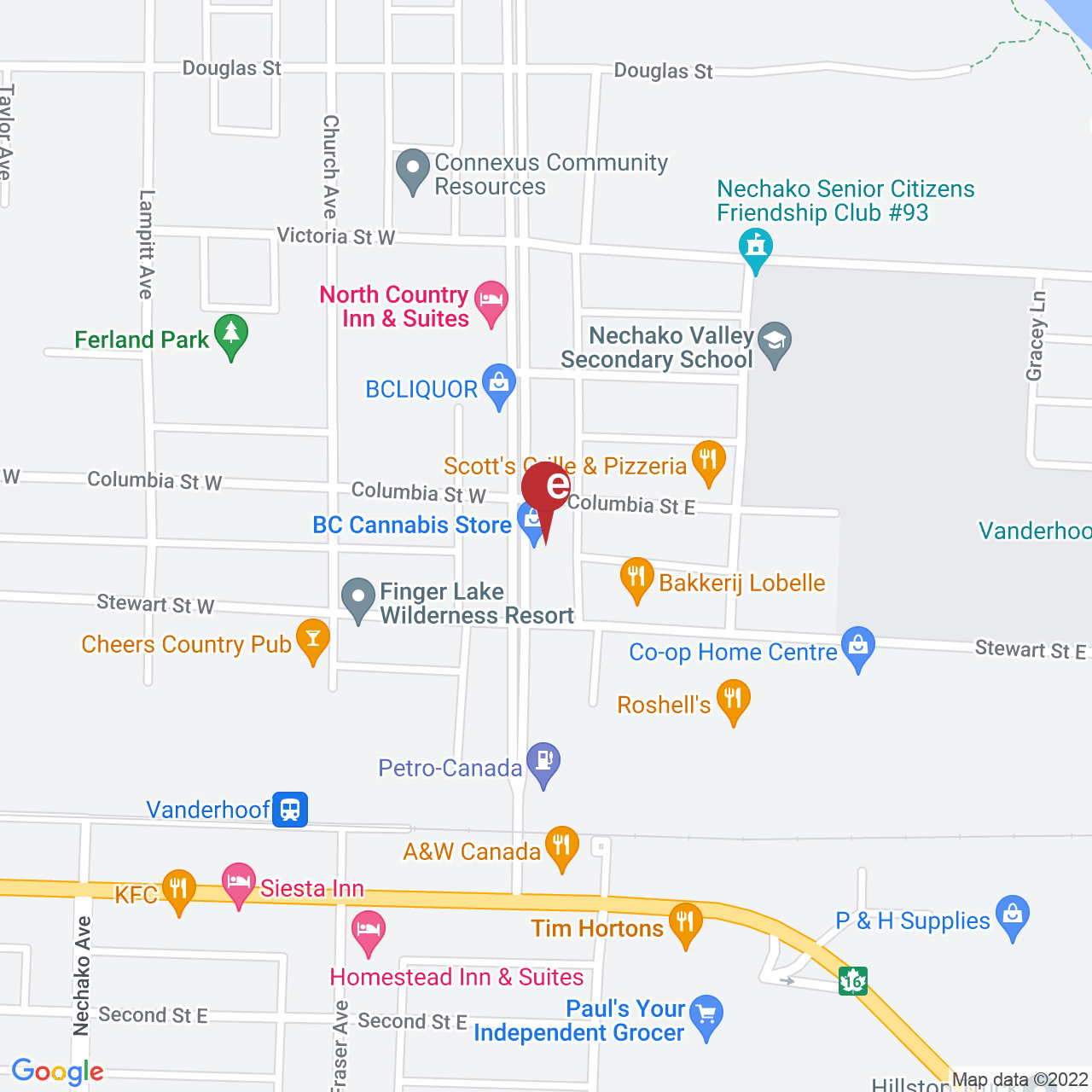 Street map for BC Cannabis Store Vanderhoof, 2444 Burrard Ave, Vanderhoof BC