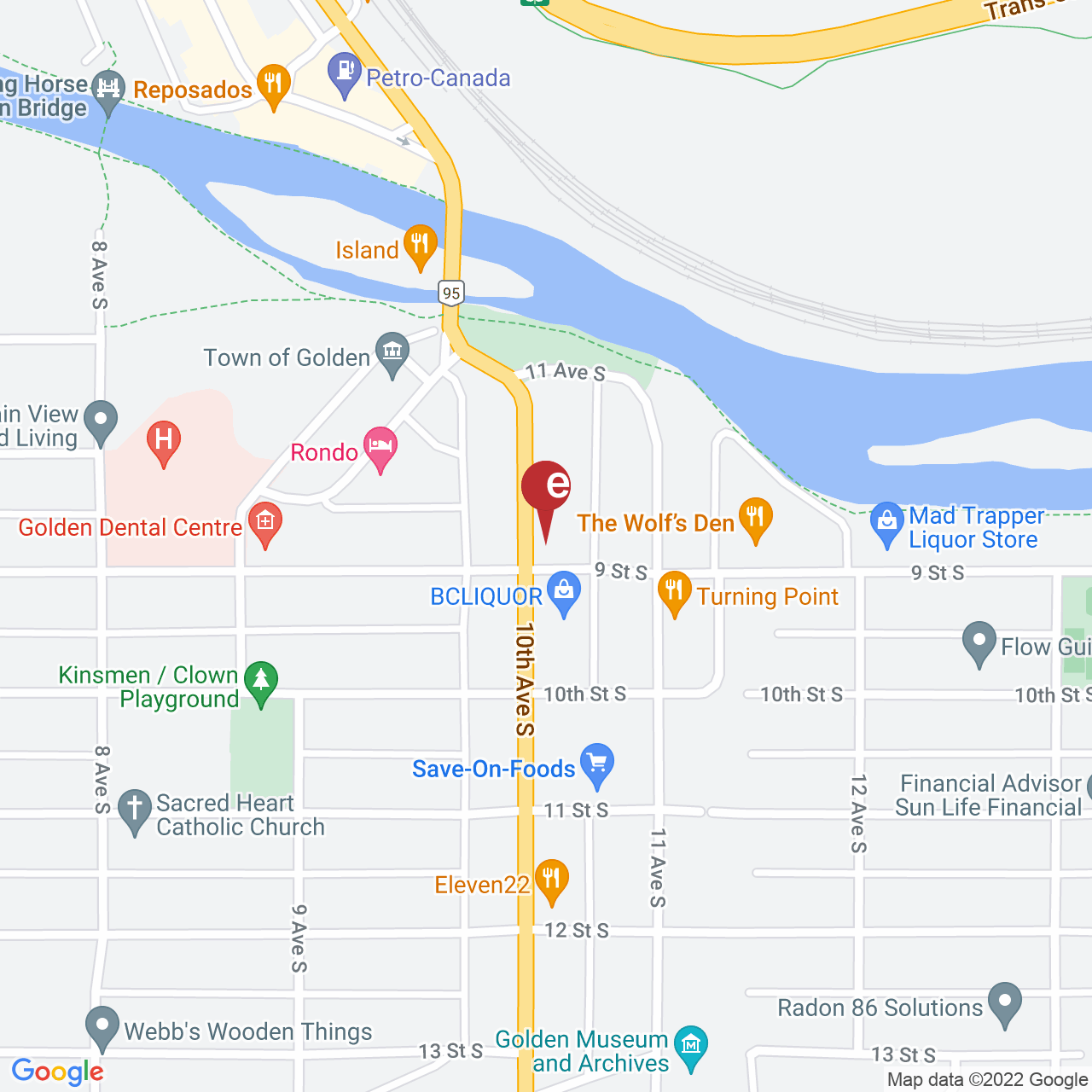 Street map for Canyon Creek Cannabis, 828 10th Ave. South, Golden BC