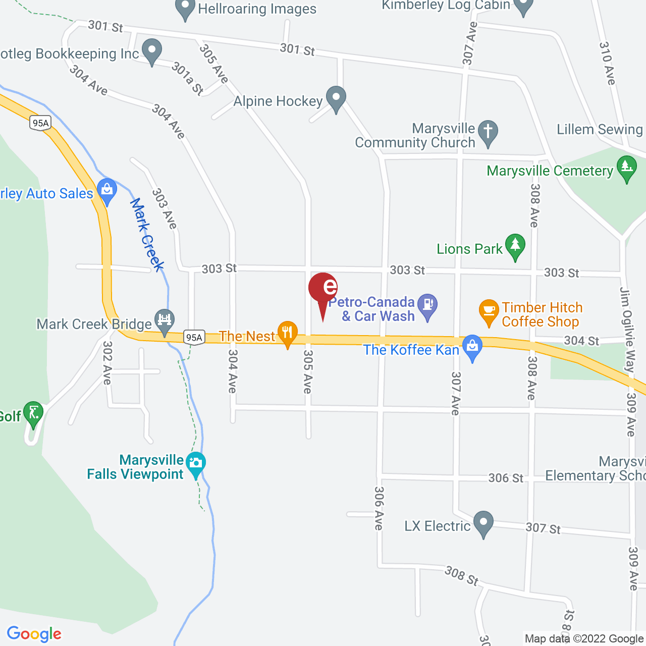 Street map for Tamarack Cannabis Boutique  2-518 304 St, Kimberley BC