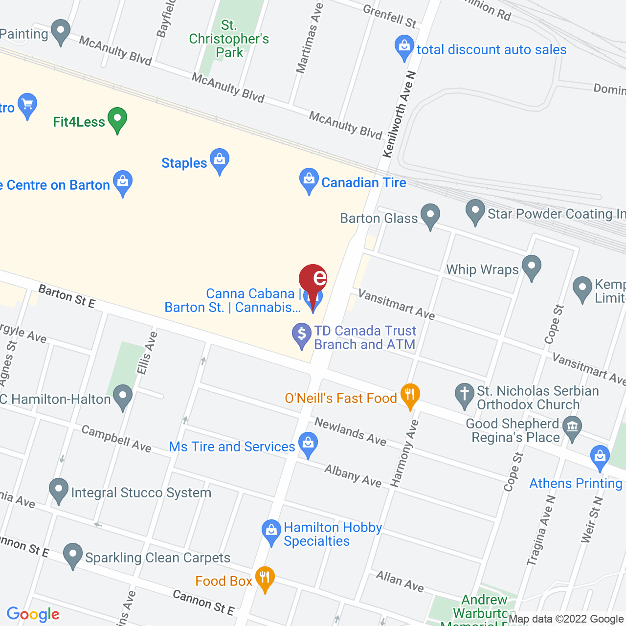 Street map for Canna Cabana Hamilton 1317 Barton St. E Unit H09, Hamilton ON