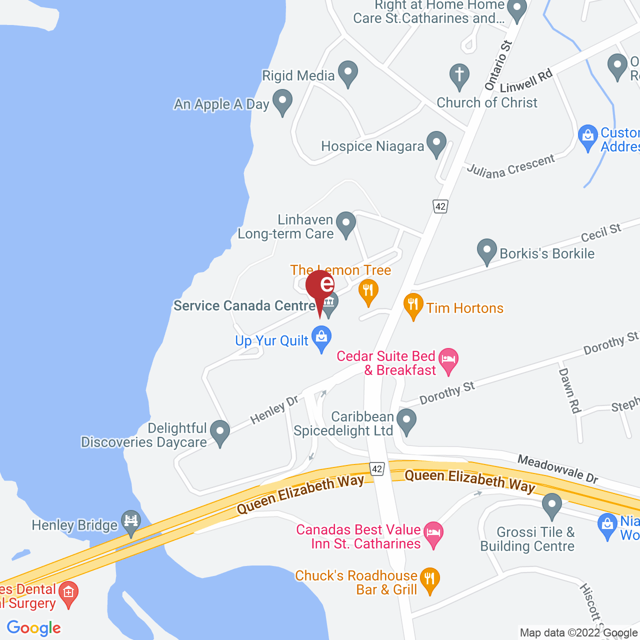 Street map for Corner Cannabis, 395 Ontario St. Suite B2, St. Catharines ON