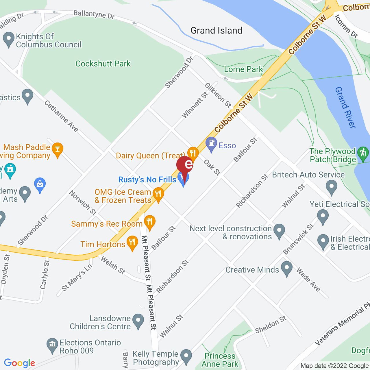 Street map for Cannabis Supply Co., 164 Colborne St W Unit 5B, Brantford ON