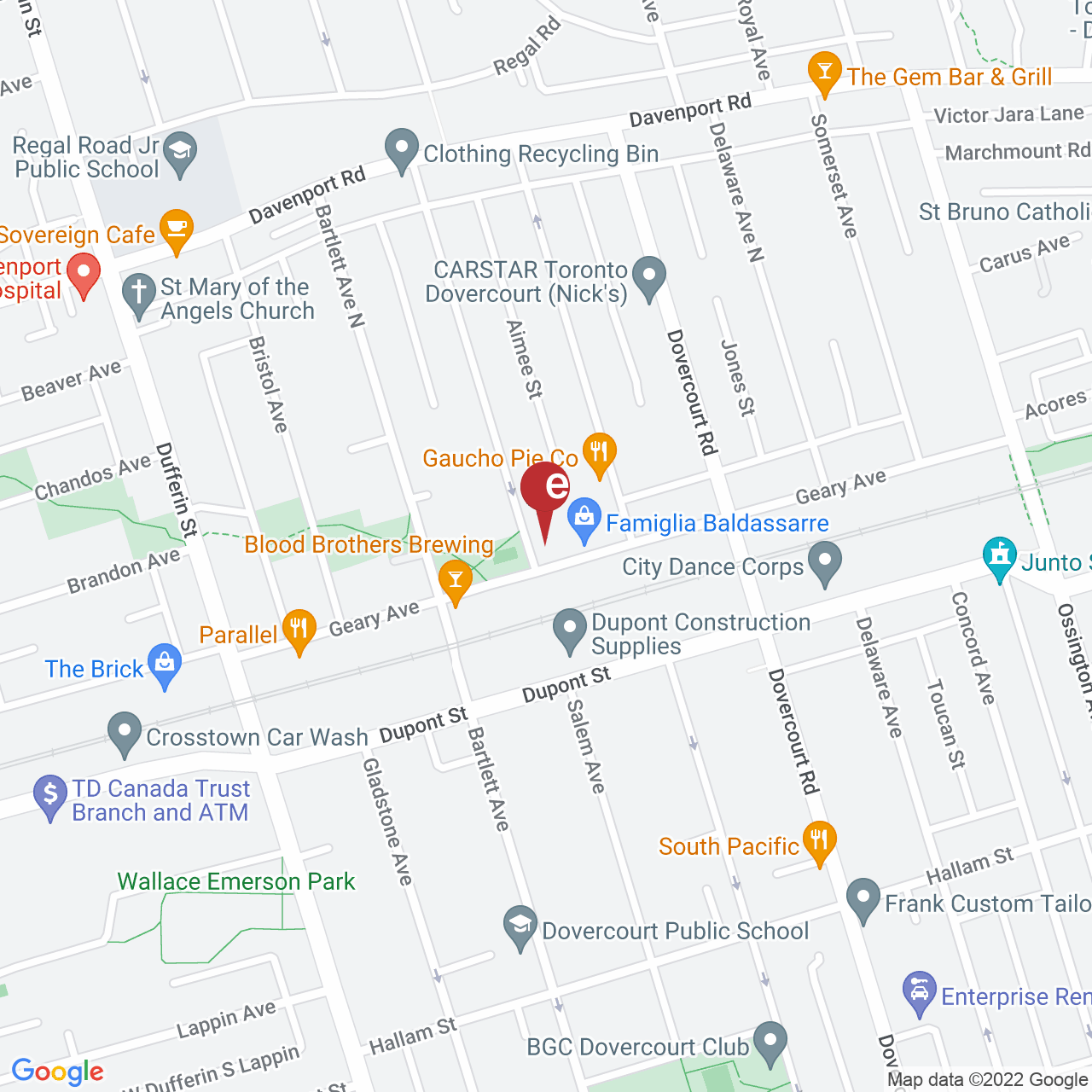 Street map for Ace Valley, 140 Geary Avenue, Suite 110, Toronto ON